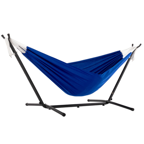 Combo - Double Polyester Blue Hammock with Stand (9ft)