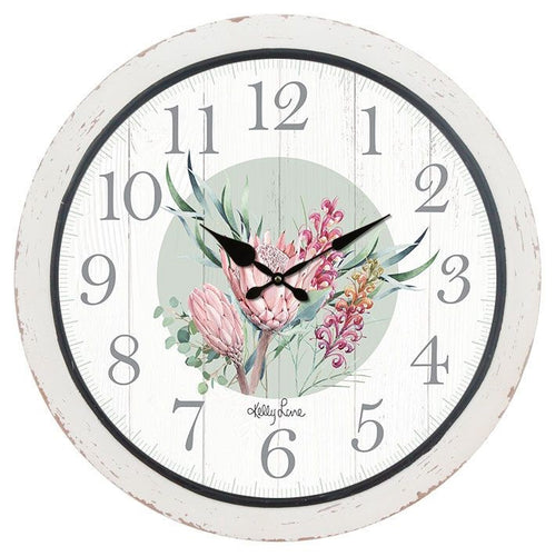 Clock 40cm Protea FLOWERS By Kelly Lane Pazaz Online