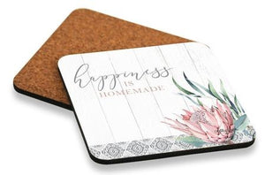 Coaster S/6 10x10 Protea HAPPINESS By Kelly Lane Pazaz Online