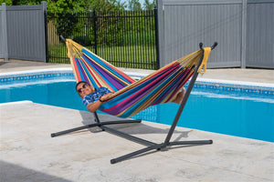 Rio Double Hammock with Universal Freestanding Hammock Stand Set - more colors available