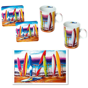 Surfs Up Coffee Cup Set of 2 with Matching Drink Coasters plus Bonus Tea Towel Australian Artist Design