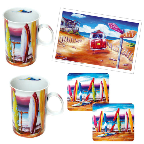 Surfs Up Surfboard Mug Set with Matching Drink Coasters Plus bonus Tea Towel from Australian Artist
