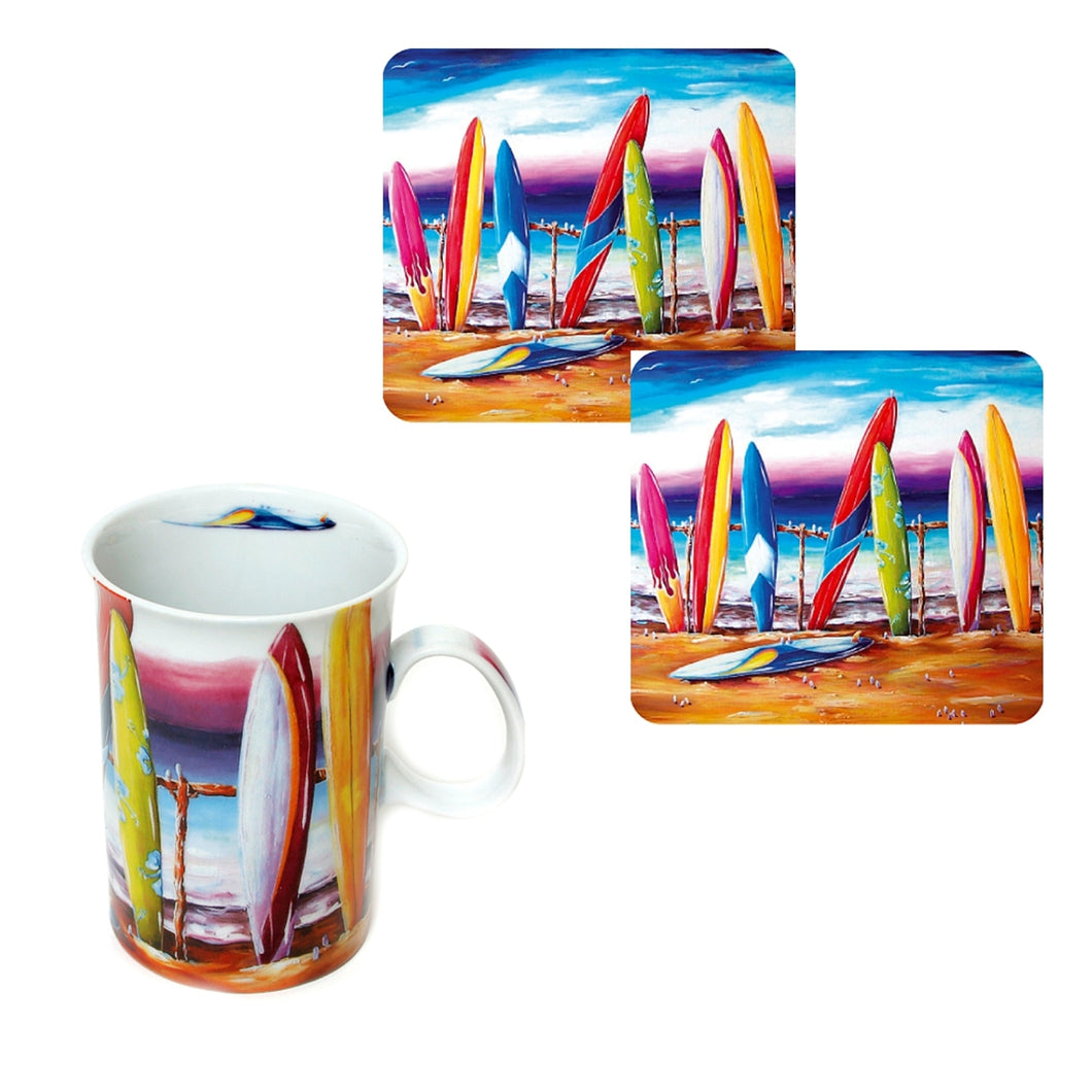 Surfs Up Coffee Cup with Matching Drink Coasters Australian Artist Design