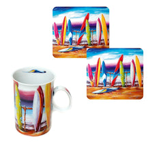 Load image into Gallery viewer, Surfs Up Coffee Cup Set of 2 with Matching Drink Coasters plus Bonus Tea Towel Australian Artist Design