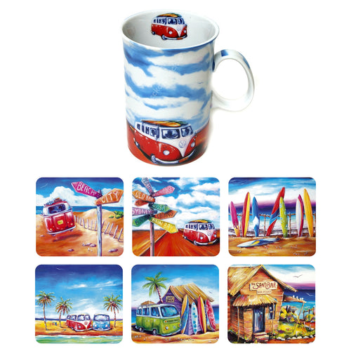 Kombi Road Trip Ceramic Coffee Cup with matching 6pc Drink Coaster Set