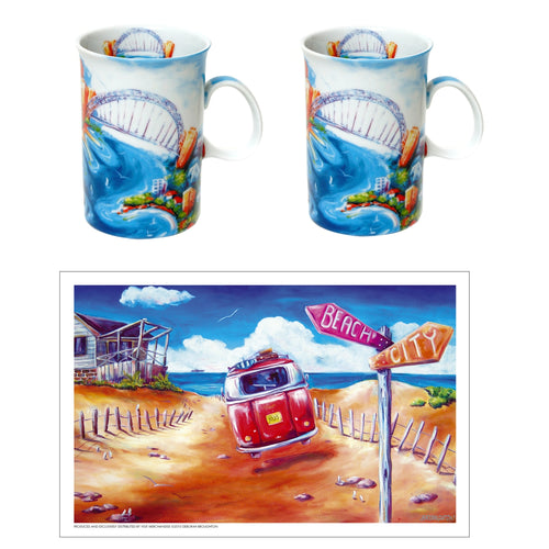 Sydney Harbour Ceramic Coffee Cup Set of 2 with Bonus Aussie Design Kombi Print Tea Towel