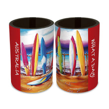 Load image into Gallery viewer, 6 x What a Day Surf's Up Surfboard Beach Print Neoprene Cooler Stubby Holder