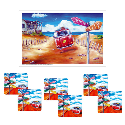 Australian Summer Kombi Road Trip Coffee Coaster set of 6 with Bonus Tea Towel