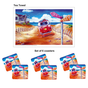 Australian Summer Kombi Design City Beach Drink Coaster set of 6 with Bonus Tea Towel