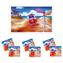 Load image into Gallery viewer, Australian Summer Kombi Design City Beach Drink Coaster set of 6 with Bonus Tea Towel