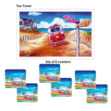 Load image into Gallery viewer, Australian Summer Lovin Drink Coaster set of 6 with Bonus Tea Towel