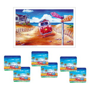 Australian Summer Lovin Drink Coaster set of 6 with Bonus Tea Towel
