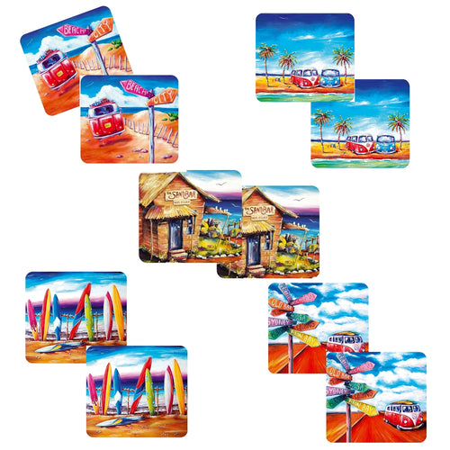 10 x Australian Summer Designer Collection of Drink Coasters with Kombi and Beach Scenes