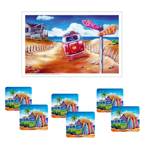 Australian Summer Green Beach Kombi Beach Shack Drink Coaster set of 6 with Bonus Tea Towel