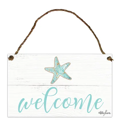 Hanging Tin Sign 18x30 cm Reef Welcome By Kelly Lane Pazaz Online
