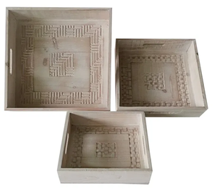 Lush Serving Trays Set of 3 36x36x8 cm White Wash By Kelly Lane Pazaz Online