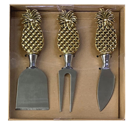 Lush Cheese Knife Set of 3 Pineapple Design By Kelly Lane Pazaz Online