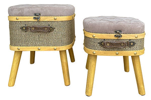 Lush Grey Stool Set of 2 L38x34x47cm M33x29x39cm By Kelly Lane Pazaz Online