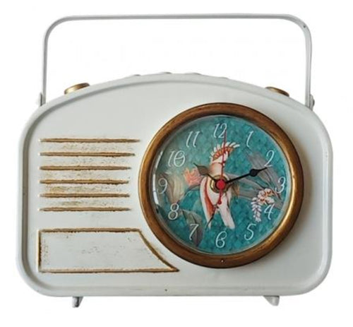 Lush Iron Table Clock 23X22cm Vintage Radio Design  By Kelly Lane Pazaz Online