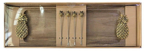 Lush Pineapple  Platter & Aperitif Fork Set 44x15x4cm By Kelly Lane Pazaz Online