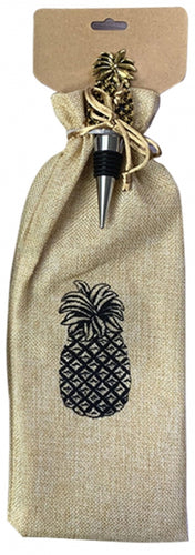 Lush Pineapple Wine Bag & Stopper Set 37x11x3cm By Kelly Lane Pazaz Online