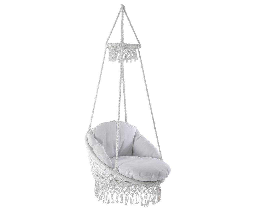 Round Macrame Padded Hanging Hammock Chair in Natural Rope colour