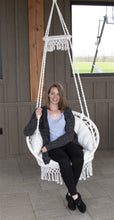Load image into Gallery viewer, Round Macrame Padded Hanging Hammock Chair in Natural Rope colour
