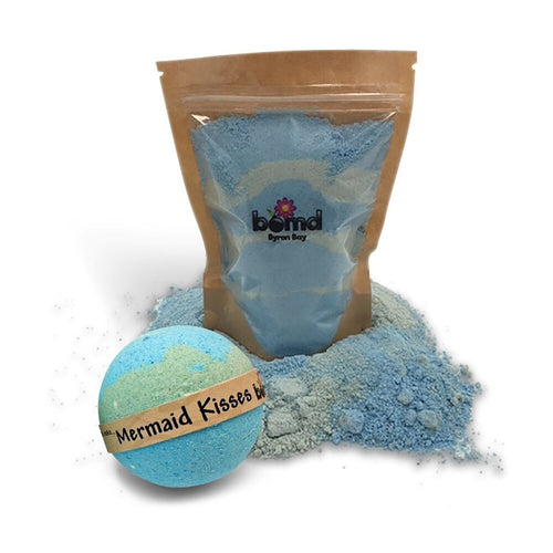 Mermaid Kisses Fizzy Bath Dust & Creamy Bath Bomb Coconut Lime Tropical Set of 2