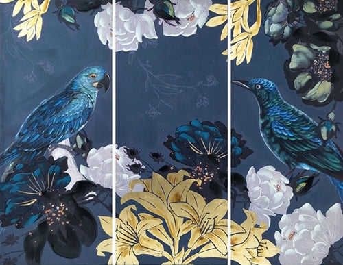 Natives Birds 1 Triptych Painting 55x135 cm By Kelly Lane Pazaz Online