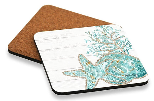 Reef Coral Coaster Square Set of 6 10x10 cm By Kelly Lane Pazaz Online