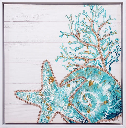 Reef Coral Shadow Frame Painting 40x40 cm By Kelly Lane Pazaz Online
