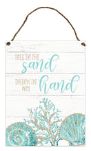 Load image into Gallery viewer, Reef Sand Hanging Tin Sign 30x40cm By Kelly Lane Pazaz Online