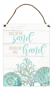 Reef Sand Hanging Tin Sign 30x40cm By Kelly Lane Pazaz Online
