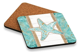 Reef Starfish Coaster Square Set of 6 10x10 cm By Kelly Lane Pazaz Online
