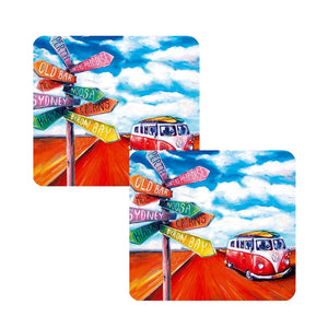 Kombi Road Trip Coffee Coasters set of 8 Australian Summer Designer Collection of Drink Coasters