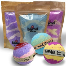 Load image into Gallery viewer, Bubble Bath Fizzy Dust & Bubble Bomb set Mermaid Kisses,  Love Spell, FOMO