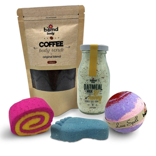 Bomd Body Bath Bomb, Body Scrub & Foot Soak Pamper Hamper Gift Set