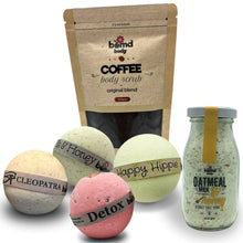 Load image into Gallery viewer, Moisturising Bath Bomb Soak, Coffee Body Scrub and Bubble Muscle Salt Soak Gift Set