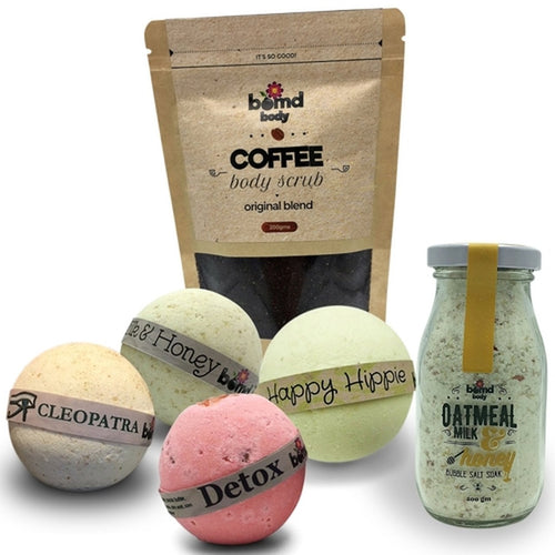 Bath Bomb Soak & Body Scrub Gift Set, Original Coffee Skin Scrub, Milk & Honey Bomb, Cleopatra Bomb, Happy Hippies & Detox Pink Rock Salt Bath Bomb Soak & Vintage Milk Bottle Bubble Bath