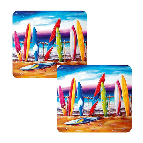 Set of 8 Surf's Up Coffee Coasters set Australian Summer Designer Collection of Drink Coasters