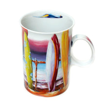 Load image into Gallery viewer, Surfs Up Coffee Cup with Matching Drink Coasters Australian Artist Design