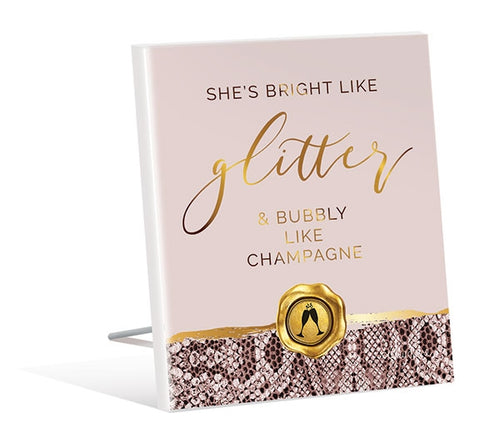 Vogue 3D Glitter Sentiment Plaque 12x15 cm By Kelly Lane Pazaz Online
