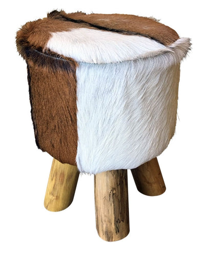 Vogue Stool Round Natural Hide Low 30x30x40 cm By Kelly Lane Pazaz Online