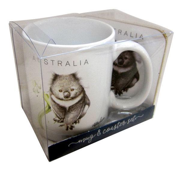 Mug & Coaster 4pc Gift Pk Tourism KOALA
