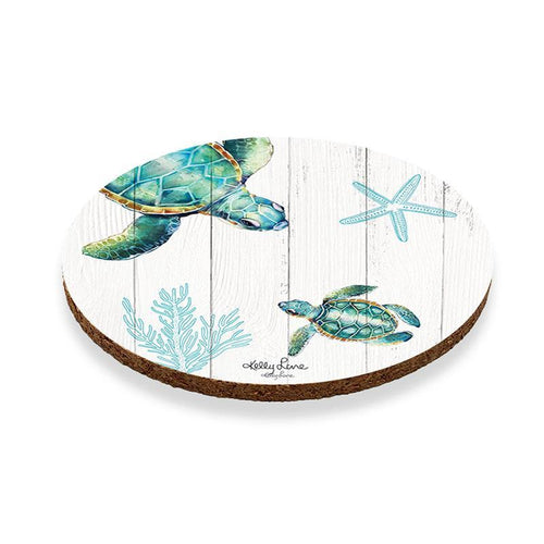 Coaster Round S/6 10cm Turtles TWIN