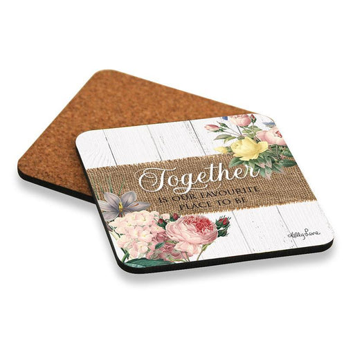 Heirloom Floral Print Set of 6 Drink Coasters Together is Our Favourite Place