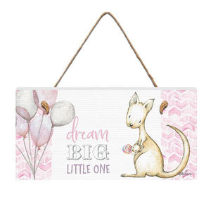 Hanging Plaque 15x30 3D Critters PINK