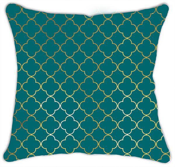 Teal Green Mesh Print with Gold Metallic Detail Cushion 45x45cm