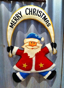 Merry Christmas Hanging Santa Wall Sign Made From Recycled Metal