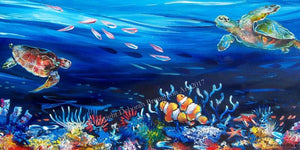 Great Barrier Reef Tropical Underwater Scene Stretch Canvas 100cm - by Deb Broughton Australian Artist